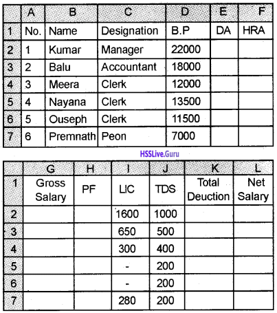 Plus Two Accountancy Chapter Wise Questions and Answers Chapter 3 Use of Spread Sheet in Business Application - 5