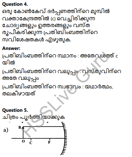 Kerala Syllabus 8th Standard Basic Science Solutions Chapter 18 Reflection of Light in Spherical Mirrors in Malayalam 8