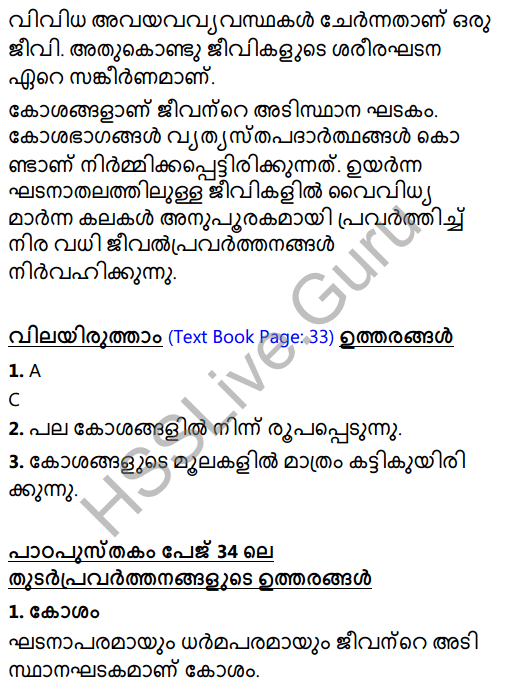 Kerala Syllabus 8th Standard Basic Science Solutions Chapter 2 Cell Clusters in Malayalam 8