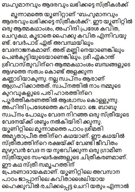 मान-सम्मान मिले नारी को Summary in Malayalam 1