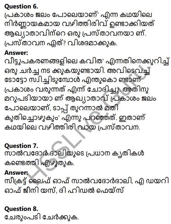 Plus Two Malayalam Textbook Answers Unit 1 Chapter 2 Prakasam Jalam Pole Anu 4