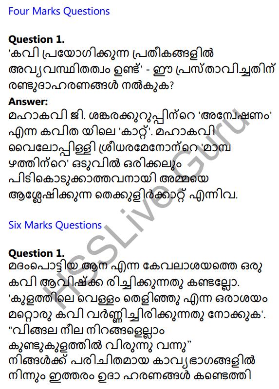 Plus One Malayalam Textbook Answers Unit 3 Chapter 1 Kavyakalaye Kurichu Chila Nireekshanangal 3