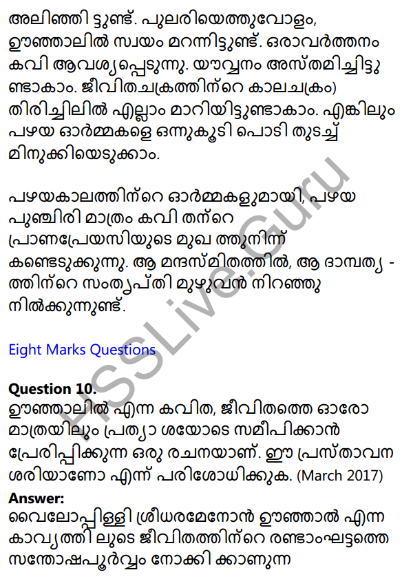 Plus One Malayalam Textbook Answers Unit 3 Chapter 2 Oonjalil 30