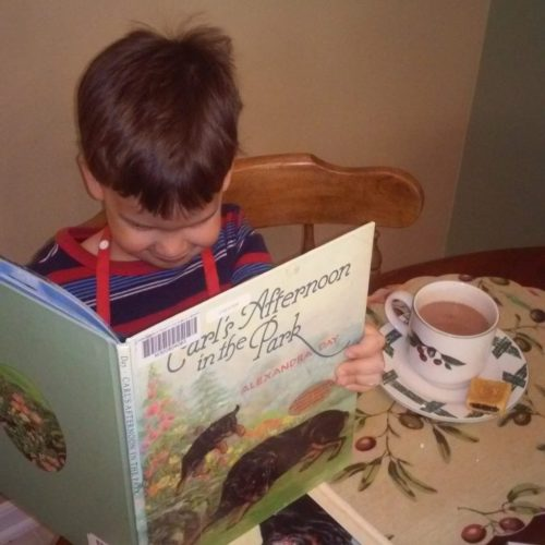 "The four-year-old who likes to ""read"" his own poems from wordless books."