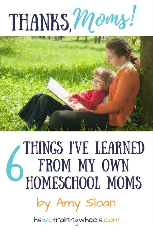 My homeschool now owes so much to the homeschools of my mom and mom-in-law! Only as a mom myself do I realize my debt to these veteran homeschool moms.