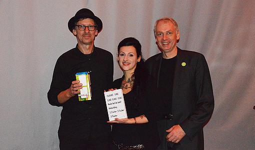 """Christian """"FLAKE"""" Lorenz, Nicole Roth (Studentin aus der Projektgruppe), Jürgen Möldner"""