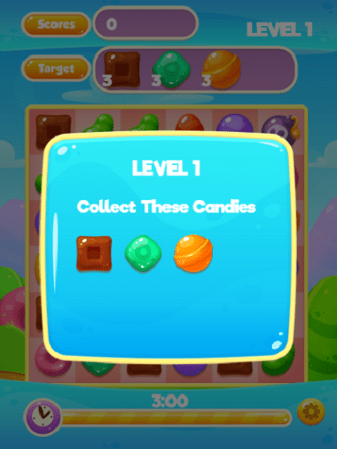 Candy Jam HTML5 game level objectives