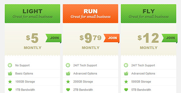 Create CSS3 Pricing Tables