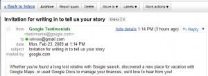Invitation from google to write testimonial