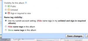Picasaweb Private album settings