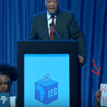 "Silent ""Zuma rape case"" protestors steal show at IEC #ElectionResults briefing"