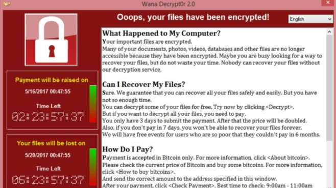 WannaCry Malware hits computers in 99 countries