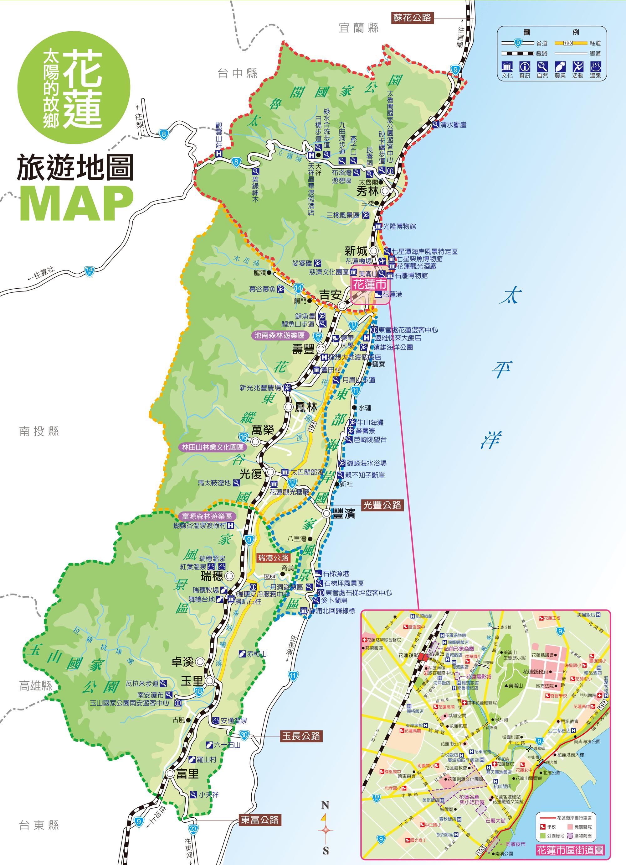 花蓮地圖-花蓮旅遊景點地圖map導覽查詢