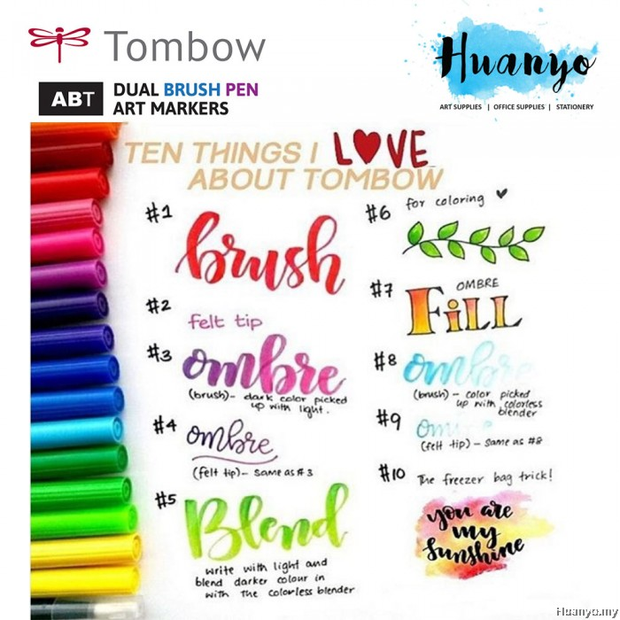 Tombow Dual Brush Pen Red Shades 13 Colours