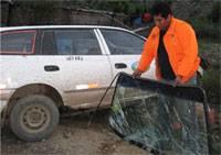 El parabrisa del vehículo