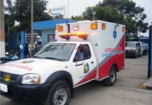 Ambulancia ingresando al nosocomio huaralino.