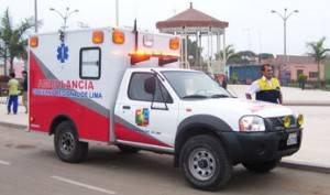 Ambulancia en el distrito de Aucallama.