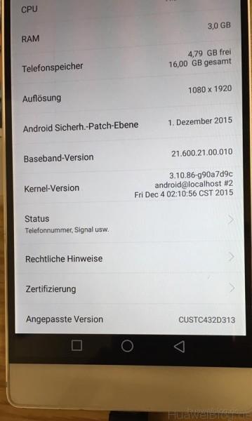 Huawei P8 B313 - Firmware Update - Kernel Version