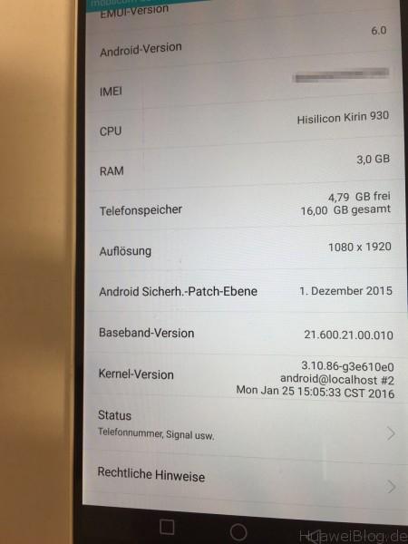 Huawei P8 B317 - Firmware Update - Kernel Version
