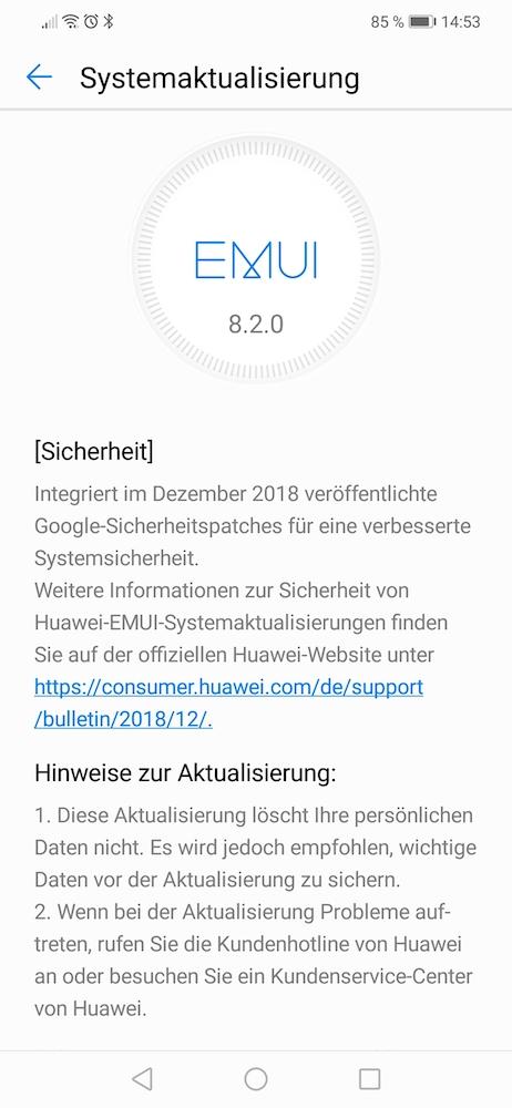 Huawei P Smart Plus - Firmware Update 134 veröffentlicht 2