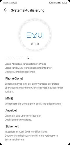 Huawei P20 Firmware Update 8.1.0.120 Changelog