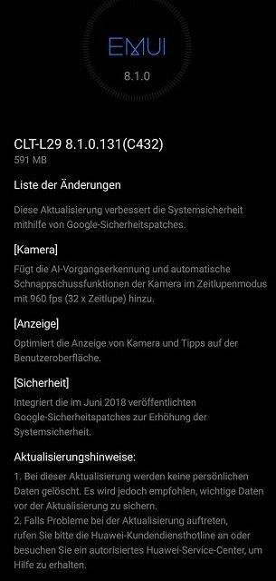 Huawei P20 Pro Update 131