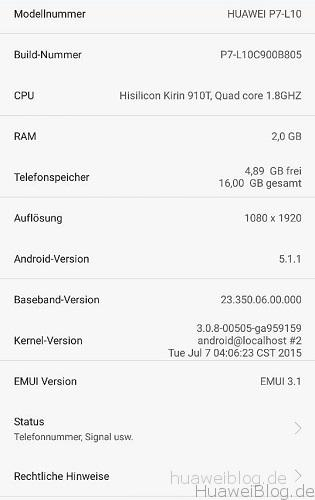 Huawei P7 Lollipop Update Beta B805