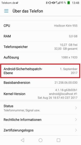 Huawei P9 Update B391 Google Sicherheitspatch