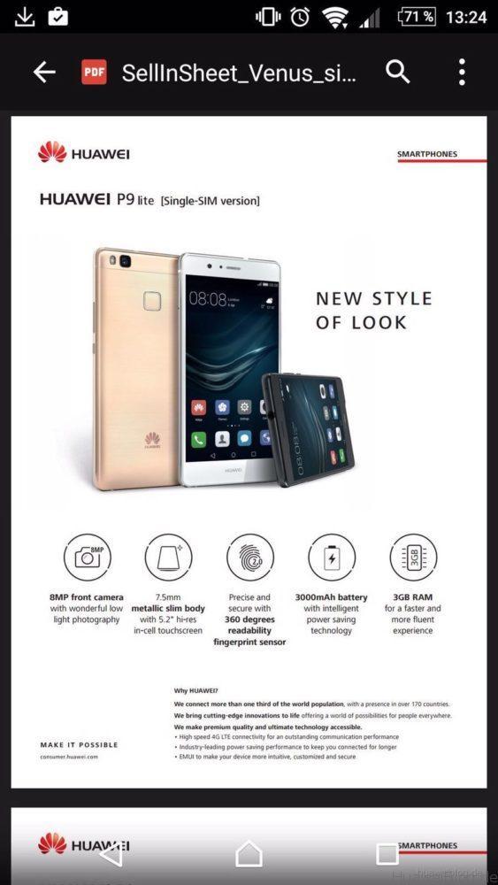 Huawei P9 Lite - Technische Daten