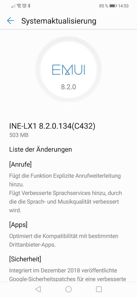Huawei P Smart Plus - Firmware Update 134 veröffentlicht 1