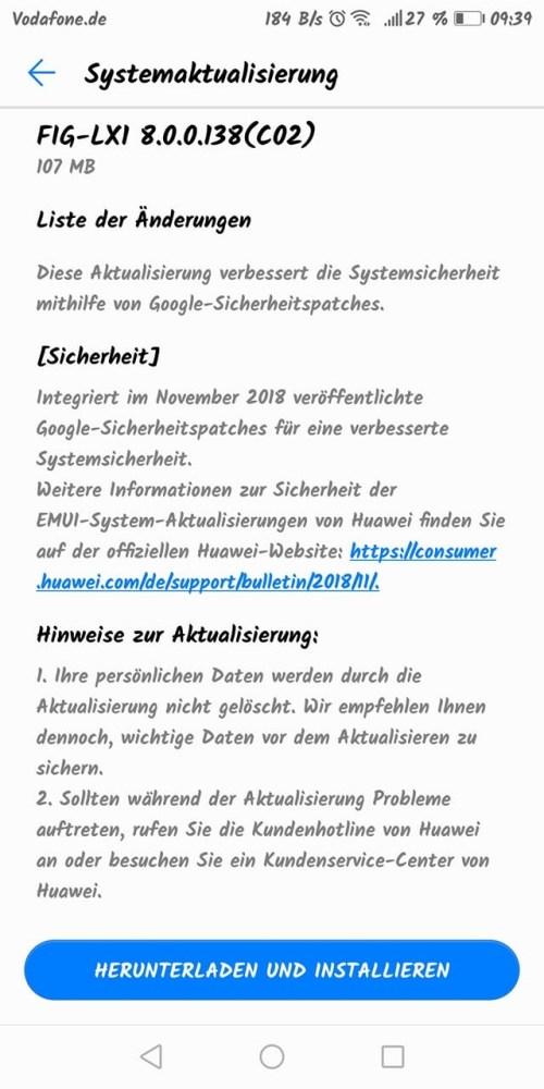 Novemberpatch 2018 für Mate RS, MediaPad M5 Pro + WiFi, P Smart (Vodafone), P10 Lite (Vodafone) und MediaPad M3 2