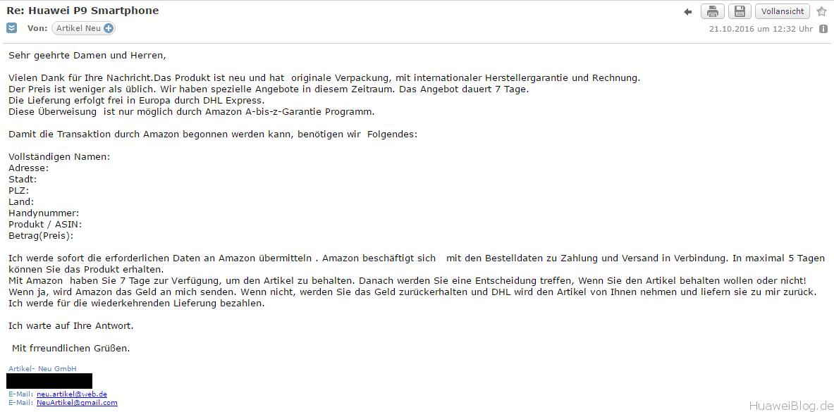 amazon betrugsmasche erste-mail   Huawei.Blog