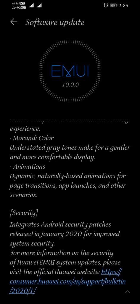 Honor 8X EMUI 10 Jan 2020 patch