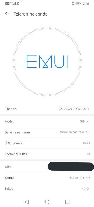 Huawei Mate 20 Lite EMUI 10.0.0.170
