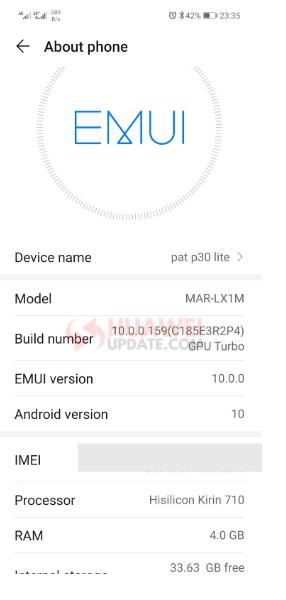 Huawei P30 Lite EMUI 10 SA