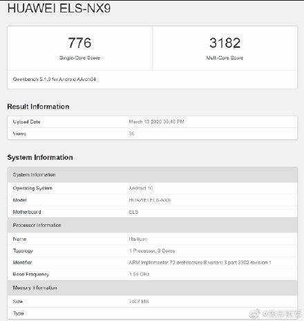 Huawei P40 ELS-NX9 Geekbench