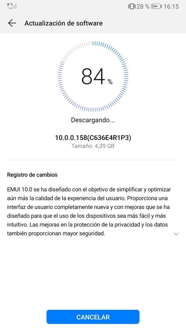 Huawei Mate 10 EMUI 10.0.0.158 update in Spain