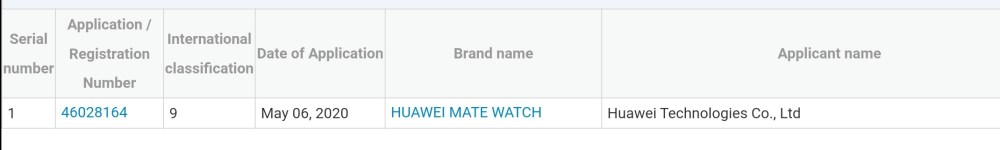 Huawei Mate Watch Trademark