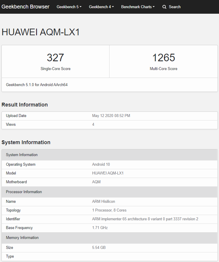 Huawei-P-Smart-S-AQM-LX1-Geekbench