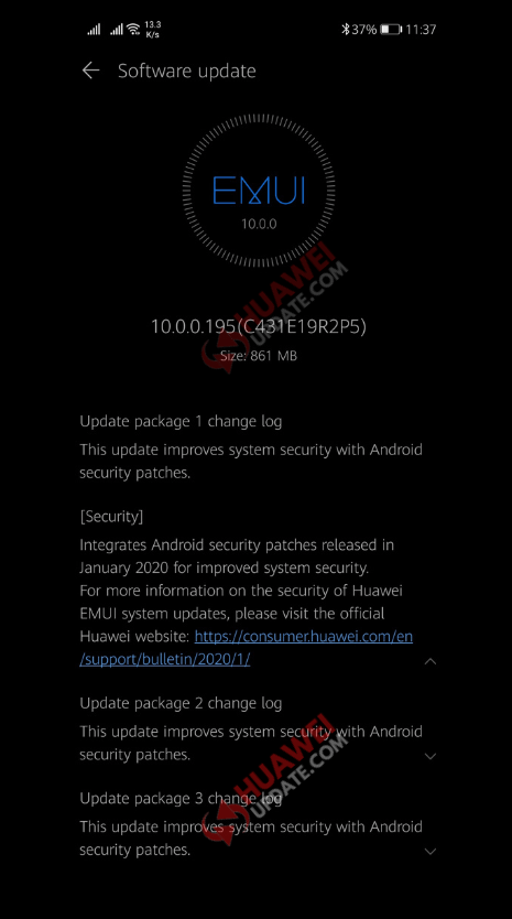 Huawei P30 Pro 3 Package Update EMUI 10.0.0.195