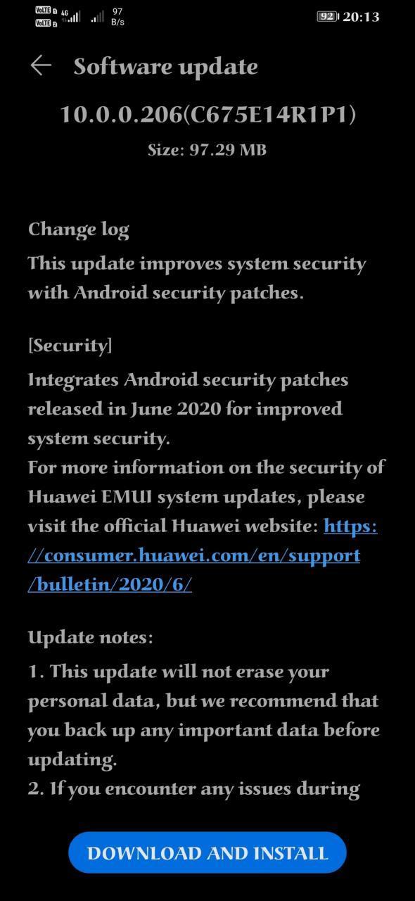 Honor 8X June 2020 update