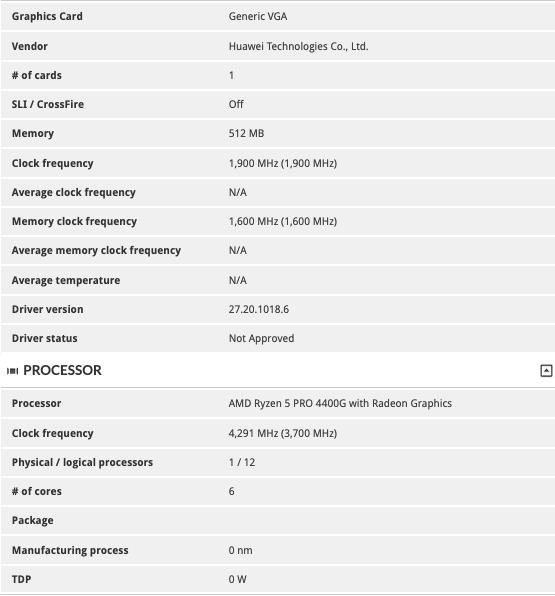 Huawei desktop with AMD Ryzen 5 Pro 4400G
