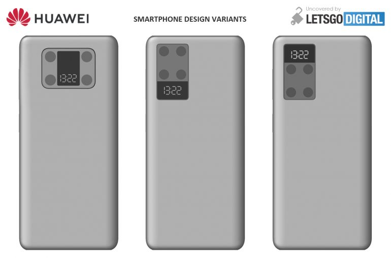 Huawei smartphone with quad camera and integrated screen patent