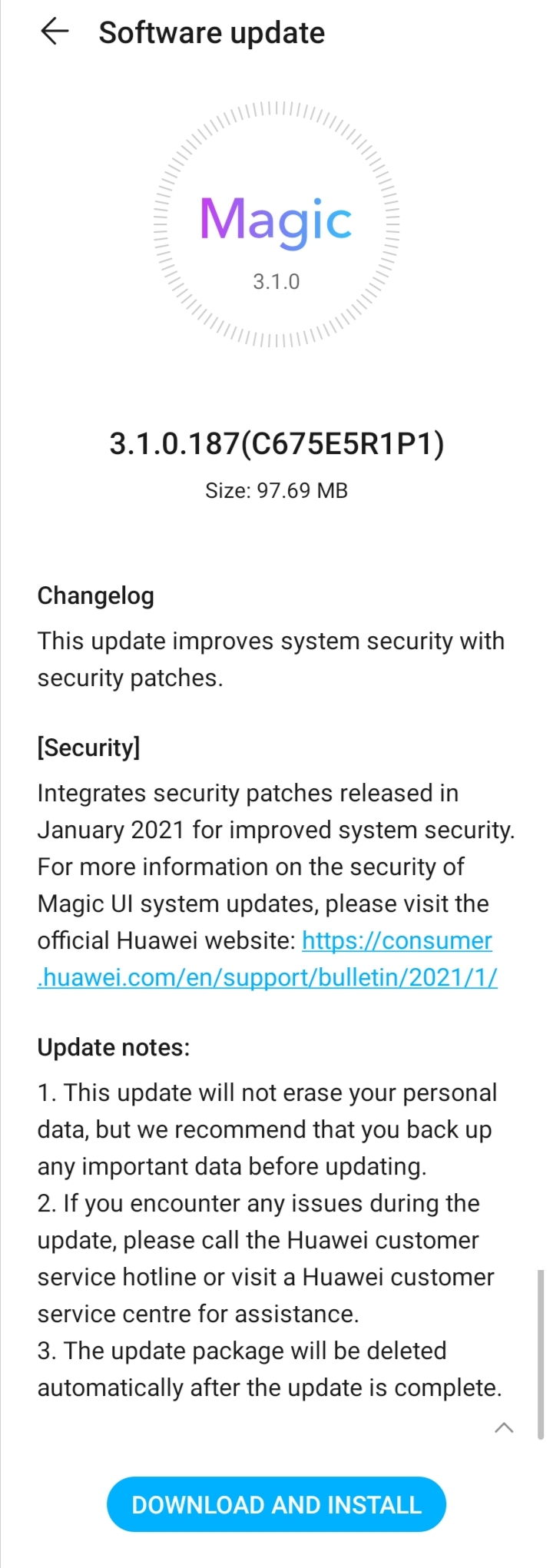 Honor 9A January 2021 security update
