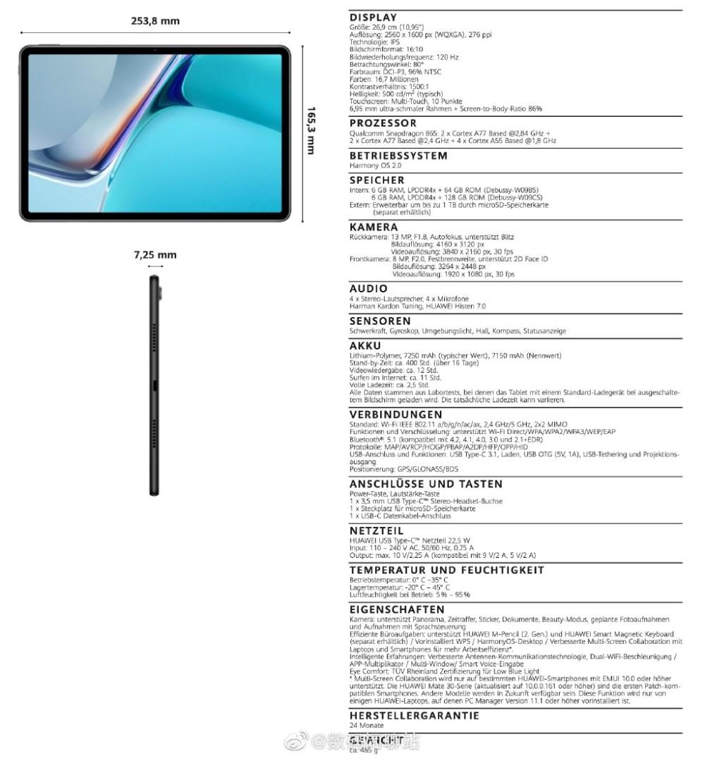 Huawei MatePad 11 Specs