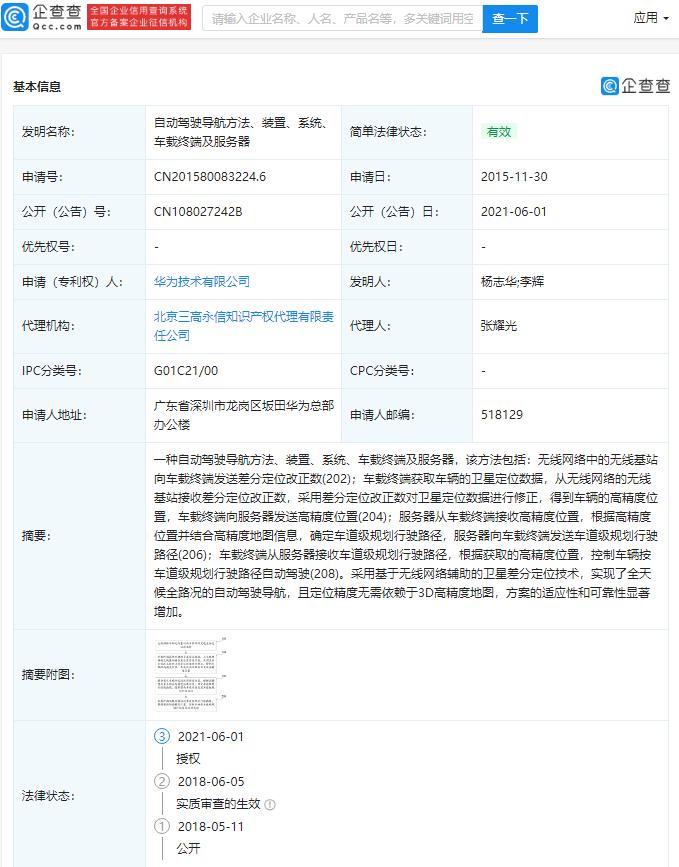 Huawei published patent for autonomous driving navigation method