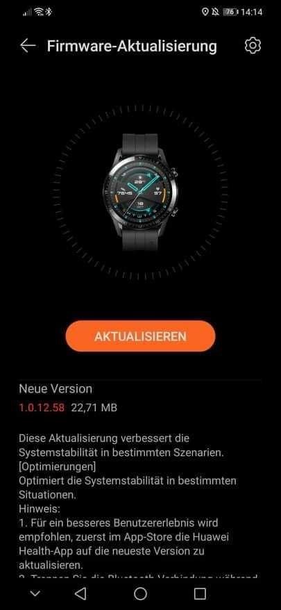 Huawei Watch GT 2 update 1.0.12.58