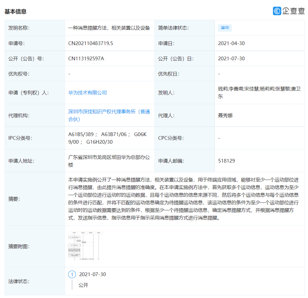 Huawei Fitness Patent