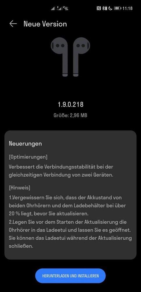 Huawei Freebuds 4 Update Version 1.9.0.218