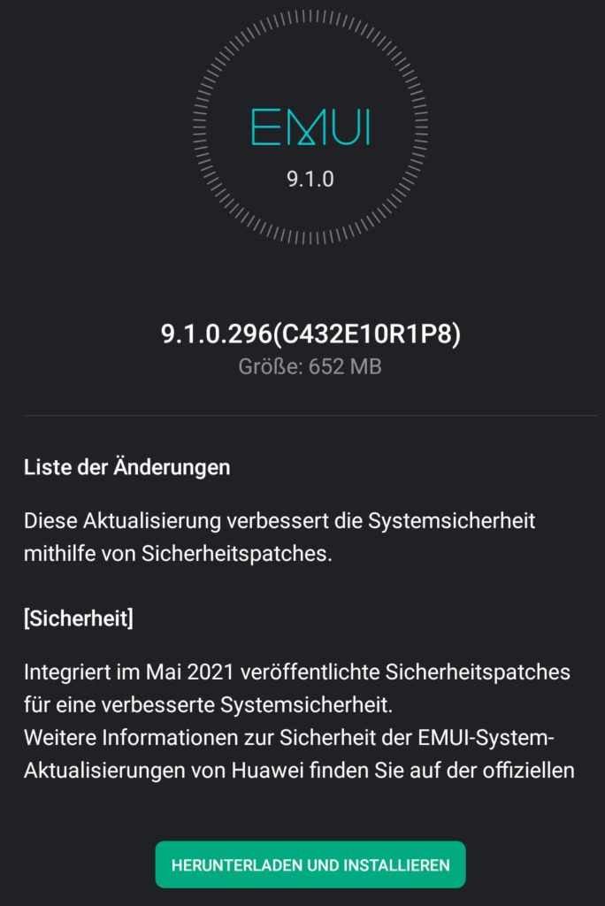 Mate 9 May 2021 patch update